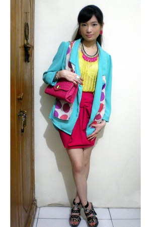 sky blue blazer - orange scarf - bubble gum bag - hot pink skirt
