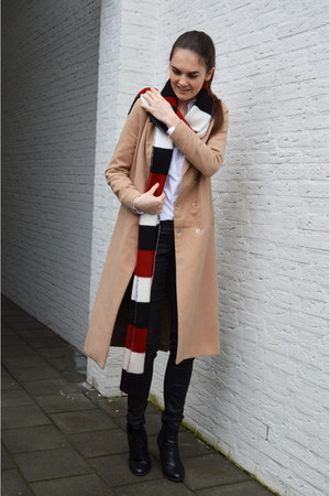 striped Zara scarf - booties Primark boots - camel Boohoo coat