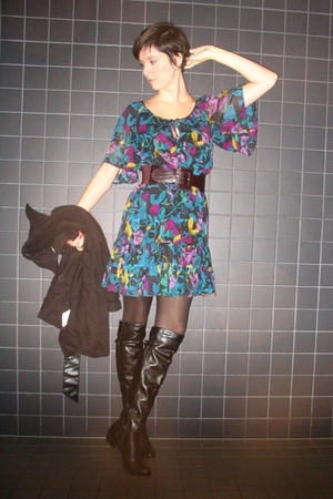 H&M dress - texto boots - Pimkie belt - Pimkie coat