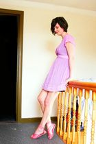 purple dress - orange shoes - black skirt