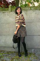 brown dress - black boots - brown sweater - black - brown belt