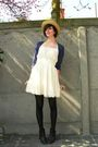 White-dress-blue-cardigan-brown-purse-black-boots-yellow-hat