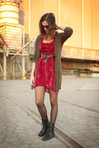 magenta dress - black boots - light brown cardigan