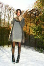 Heather-gray-dress-dark-gray-cardigan-black-boots-black-tights-tan-scarf