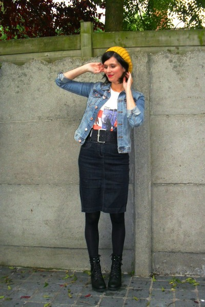 blue skirt - blue jacket - white t-shirt - black boots - black belt - yellow hat