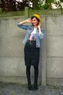 Blue-skirt-blue-jacket-white-t-shirt-black-boots-black-belt-yellow-hat