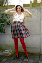 ruby red tights - ivory blouse - navy skirt - camel cardigan