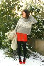 Camel-coat-heather-gray-sweater-red-skirt-red-shoes-black-tights