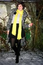Black-coat-black-boots-black-skirt-black-accessories-gray-sweater-yell