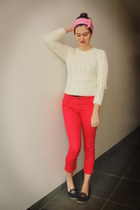 red pants - cream sweater - bubble gum accessories - navy flats