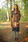 Dark-brown-shoes-mustard-coat-heather-gray-socks-navy-skirt