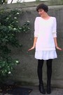 White-h-m-sweater-white-pimkie-dress-black-h-m-accessories-black-pimkie-bo
