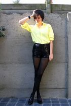 yellow blouse - black shorts - black shoes - black bracelet