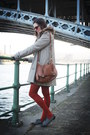 Camel-coat-gray-shoes-black-dress-carrot-orange-tights-tawny-bag