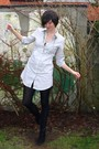 White-dress-black-boots-black-cardigan-silver-necklace-black-tights