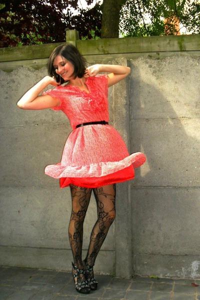 black shoes - red dress - black tights - black belt