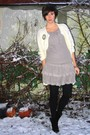 Gray-dress-white-sweater-silver-accessories-black-boots-black-tights