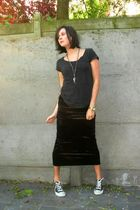 black skirt - black shoes - gray top - silver accessories