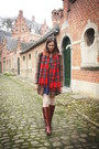 Crimson-boots-navy-dress-dark-brown-coat-cream-tights-ruby-red-scarf