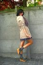 Blue-dress-beige-coat-brown-shoes-purple-scarf-gray-socks