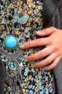 Blue-dress-gray-socks-gray-jacket-beige-shoes-blue-necklace