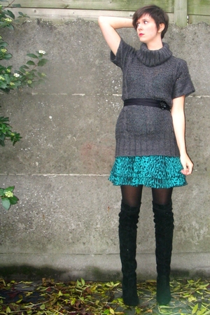 Pimkie sweater - Pimkie dress - belt - Sacha boots - Pimkie accessories