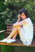 white dress - white shoes