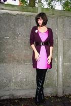 Zara sweater - H&M dress - Pimkie belt - boots - accessories