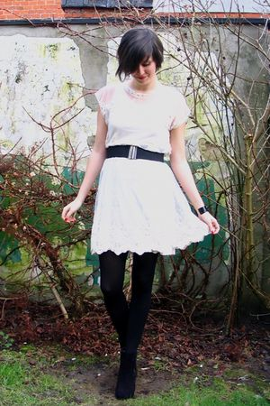 white dress - gray cardigan - black boots - black tights - black bracelet - blac
