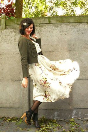 white dress - green cardigan - gray socks - brown shoes - brown belt - gold acce