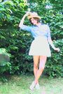 Blue-shirt-white-skirt-white-shoes-yellow-hat