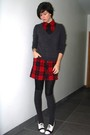 Red-dress-black-tights-gray-sweater-gray-socks-white-shoes-black-tie