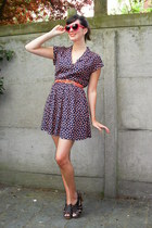 navy dress - dark brown clogs - red glasses - carrot orange belt