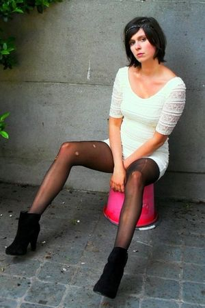 white dress - black boots - black tights - black headband