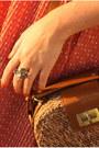 Salmon-dress-brown-bag-silver-sandals-magenta-accessories