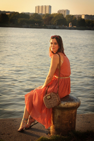 brown bag - salmon dress - silver sandals - magenta accessories