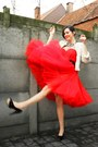 Red-dress-black-belt-cream-jacket-black-shoes-black-necklace