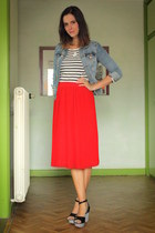 sky blue jacket - red skirt - black wedges