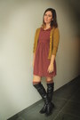 Black-boots-brick-red-dress-tan-coat-heather-gray-socks-mustard-cardigan