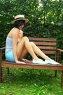 Blue-top-blue-shorts-white-shoes-yellow-hat