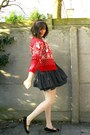 Red-cardigan-heather-gray-t-shirt-off-white-tights-dark-gray-skirt-black