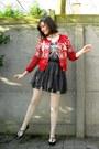 Red-cardigan-heather-gray-t-shirt-off-white-tights-dark-gray-skirt-black