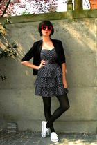 black blazer - white shoes - blue dress - red glasses - purple belt