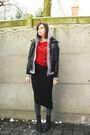 brick red top - black skirt - gray tights - heather gray cardigan - black jacket