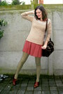 Dark-brown-shoes-brick-red-dress-camel-sweater-olive-green-tights-black-