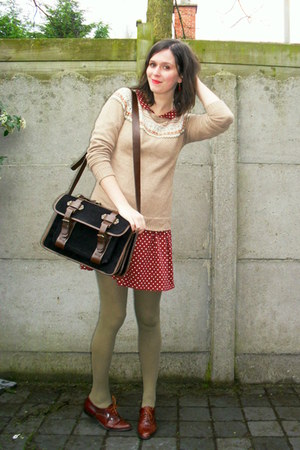 dark brown shoes - brick red dress - camel sweater - olive green tights - black