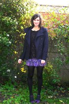 navy coat - black coat - purple skirt - purple shoes - black tights