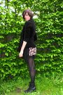 Brown-dress-black-skirt-black-tights-black-shoes-black-cardigan-black-