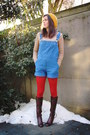 Camel-sweater-red-tights-blue-romper
