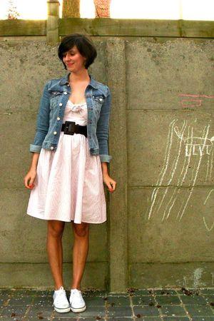 pink dress - blue jacket - white shoes - purple belt